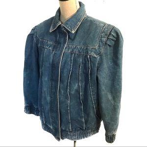 Vintage denim jean peplum 80's Bomber Jacket coat